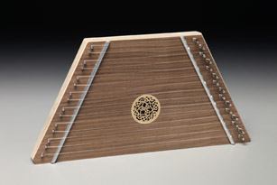 walnut lap harp with celtic knot